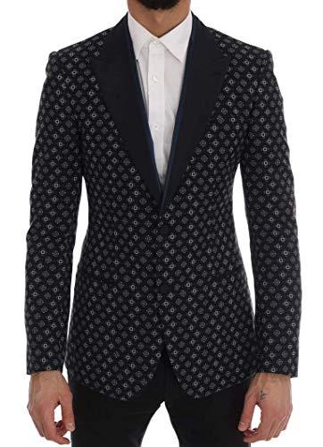 Dolce & Gabbana Blue Baroque Silk Wool Blazer, IT46 | S