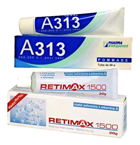 A313 Retinol + Retimax 1500 (2 TUBES) 80 g! Retin Vitamin A Anti Aging Wrinkle Acne Blemish Pigmentation Retinolo Scars New Skin Gesicht Creme & Gel Salbe 100 % Authentic