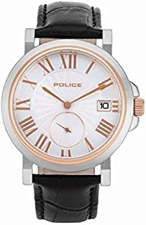 Police Clock Tower Analogue Silver Dial Black Leather Watch For Men - PL 15437JSTR-04