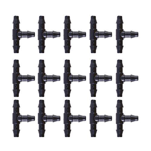 Yardwe Conector en Forma T de Manguera Boquilla Herramienta de Jardín para Riego por Goteo para Manguera de 4/7 mm (Negro) 50 Piezas