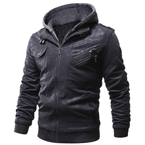 WULFUL Men's Vintage Motorcycle Faux Leather Jacket Outwear Winter Jackets with Removable Hood, XS, Black