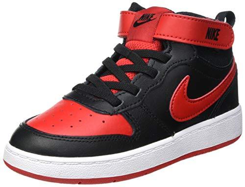 Nike Court Borough Mid 2 (TDV), Sneaker Unisex niños, Black/University Red-White, 21 EU