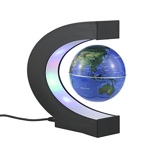 Aibecy C. Mapamundi magnético con levitación. Planisferio. Globo terráqueo con rotación y luces de LED para aprender. Enseñanza, demostración, casa y escritorio. Decoración. Regalo creativo (Azul)