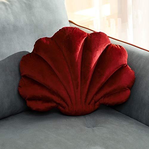 LYFST Cojín de festoneado de color sólido para sofá (Color: rojo vino)