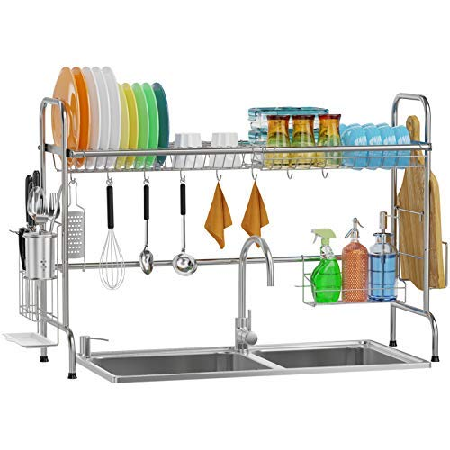 Over Sink Dish Rack GSlife Kitchen Over Sink Shelf Stainless Steel Over the Sink Drying Rack Silver