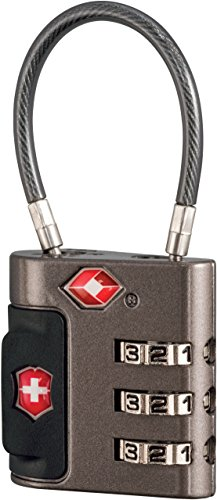 Victorinox Travel Sentry Approved Cable Lock, Grey/Red Logo, One Size