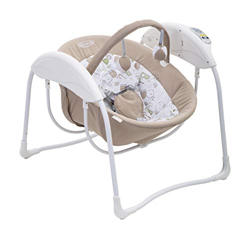 Graco Glider Lite - Columpio eléctrico para bebés de 0 a 9 kg, 6 velocidades, arnés de 5 puntos, funda de tela lavable a máquina, con música, sonidos naturales y arco de juegos Benny & Bell