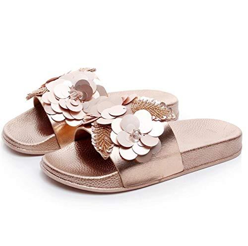 Damen Mädchen Sommer Sandalen Slipper Anti-Rutsch mit Strass für Frauen Glitzer Flip Flops Casual Strand Sandale (EU 38, Rose Golden)