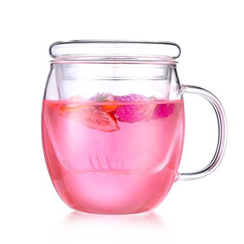 Glass Tea Cup with Cover , ONEISALL Heat Resistant Tea Cup with Strainer, Flower Tea Coffee Pot Infuser, Perfect for Home, Office( 500ML)