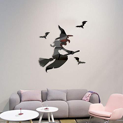 Spiegel muurstickers, 2 sets heksenbezem vliegende kunststickers, Halloween-wanddecoraties voor thuis-Zwart