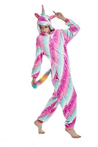 Pijama para Animal Adultos Capucha Unicornio Ropa De Dormir Dibujos Animados Invierno Pijama (Rose Star, L Medida para Altura 165-175 CM (65'-68.8'))
