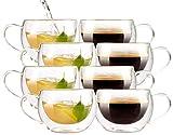 Cucina di Modena Tee-Tassen: Doppelwandiges Kaffee- & Tee-Glas, 8er-Set (Doppelwandige Teegläser)