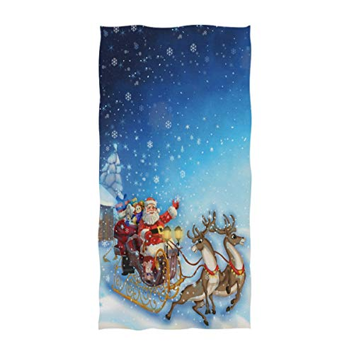 Naanle Rural Style Santa Claus in Reindeer Sleigh Print Soft Bath Towel Large Hand Towels Multipurpose for Bathroom, Hotel, Gym and Spa (16 x 30 Inches)