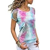 Elesoon Camiseta de verano para mujer con hombros descubiertos y degradados huecos, talla grande, manga corta, suelta, blusa, A-azul cielo, 38