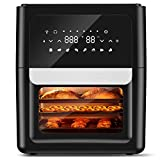ENKLOV Power Air Freidora horno con asador de 13 cuartos XL con 41 recetas, sistema ciclónico calentado de círculo completo, 1700 W, 8 presets de cocina y 9 accesorios para familia grande