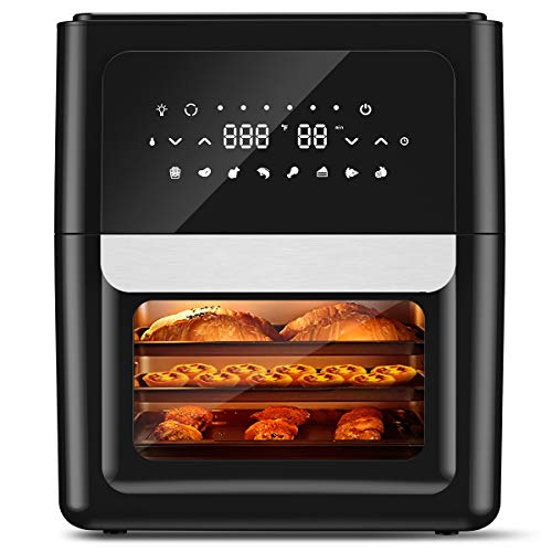 ENKLOV Power Air Fryer Oven with Rotisserie 13 Quart XL with 41 Recipes, Full Circle Heated Cyclonic System,1700W Fast Cook 8 Cooking Presets and 9 Accessories for Large Family