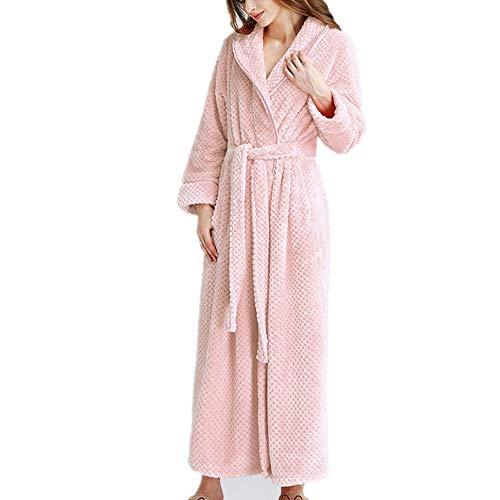 DUJUN Langer Damenbademantel aus Samt, Mikrofaser (100% Polyester), Verdickungskleid - 2 Taschen, Gürtel - weicher, saugfähiger und bequemer BademantelrosaM
