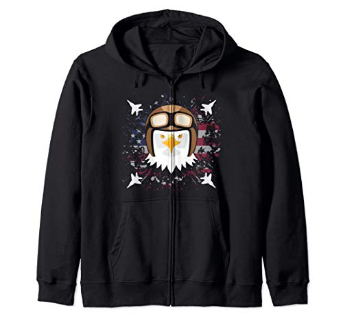 Bald Eagle Jet Fighter Pilot Clipart Graphic USA Flag Zip Hoodie
