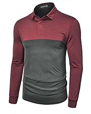 TAPULCO Mens Full Sleeve Golf Polo Quick Dry Performance Dri-Fit Tech Sportswear Casual Outdoor Activities Hiking Fishing Shirts Work Wear Grey and Wine X-Large
