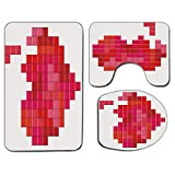 3Pcs Alfombra de baño antideslizante Juego de tapa de tapa de asiento de inodoro Día de San Valentín Alfombrilla de baño antideslizante suave Videojuego Tetris Corazón rojo Diseño pixelado vintage Ale