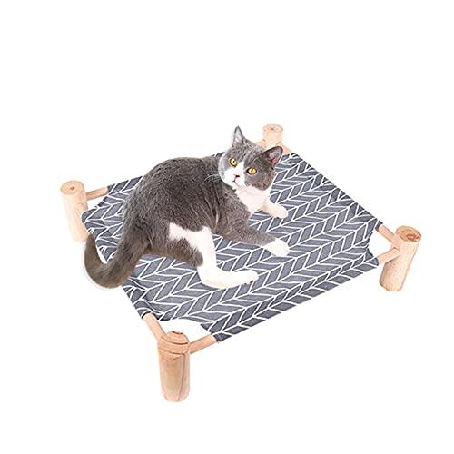 Verdelif Amaca per gatti, lettino per animali domestici lavabile staccabile Salotto estivo Letto rialzato con struttura in legno quadrata per gatti Cani di piccola taglia Animali domestici
