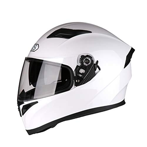 Qianliuk Uomo Donna Bluetooth antifog Lens Moto Casco Full Face Casco Moto Quattro Stagioni Sicurezza Motocross caSchi cap 53-63cm