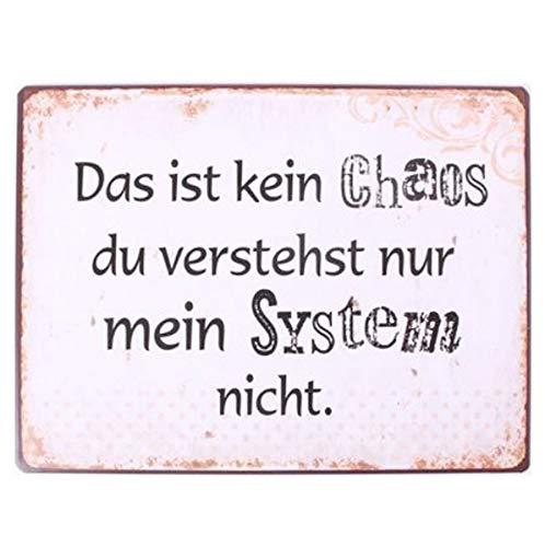 AS4HOME Blechschild - Das ist kein Chaos du verstehst nur Mein System Nicht - Schild im Antik Look - Metallschild Wandschschild Metall für den Innenbereich - Nostalgieschild