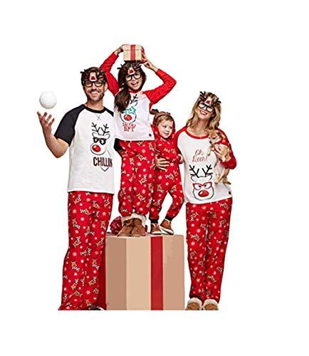 douleway Pigiami Natale Famiglia, Indumenti da Notte Costume Cotone Camicie Manica Corta + Pantaloni Lunga Abbigliamento Felpa Natale Invernale Primaver per Uomini Donne Bambini-Papà