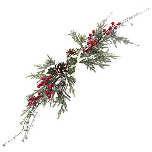 Centro de Mesa de Navidad Verde con Acebo y pinas de 75 cm - LOLAhome