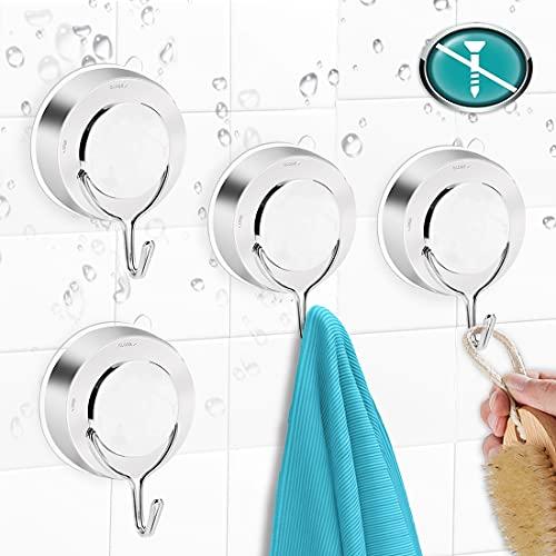 O-Kinee Saugnapf Haken,4pcs Vakuum Handtuchhaken, Bademantelhaken Wandhaken,Saugnapf Haken Ohne Bohren, Mehrzweckhaken für Badezimmer und Küche Kleiderhaken,Stark Handtuchhalter