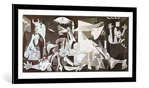 Kunst für Alle Cuadro con Marco: Pablo Picasso Guernica - Impresión artística Decorativa con Marco, 100x50 cm, Negro/Canto Gris