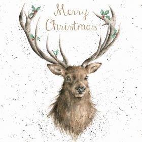 Luxe kerstkaarten (WRE6454) - Kerst Stag - Doos van 8 - Wrendale Designs