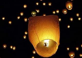 Chinese Lanterns 20-Pack – 100% Biodegradable, Paper Lantern – Japanese Lantern for Weddings, Celebrations, Memorial Ceremonies – White Flying Wish Lanterns