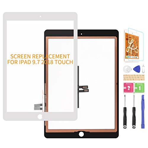 per iPad 9.7 2018 A1893 A1954 Touch Screen Digitizer Vetro di Ricambio per iPad 6 A1893 A1954 Touch Display Panel Kit Parti di Riparazione (Non LCD, Senza Pulsante Home) (Bianco)