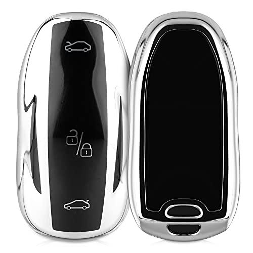 kwmobile Carcasa para Mando Compatible con Tesla Model S Llave de Coche - Funda para Llaves de Coche con Botones de TPU - Plateado Brillante