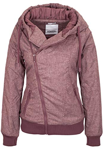 Sublevel Damen Winter-Jacke mit Kapuze warm gefüttert Dark-Rose L