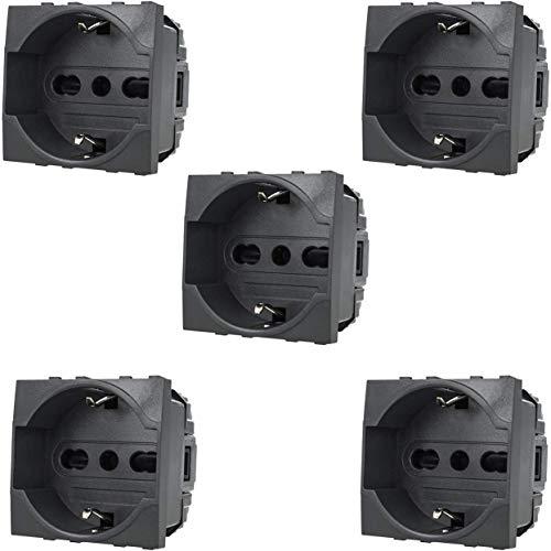 VM-Store - Lote de 5 enchufes interruptores Shuko bipaso, compatibles con BTICINO LIVING LIGHT 2P + T 10/16A, color negro