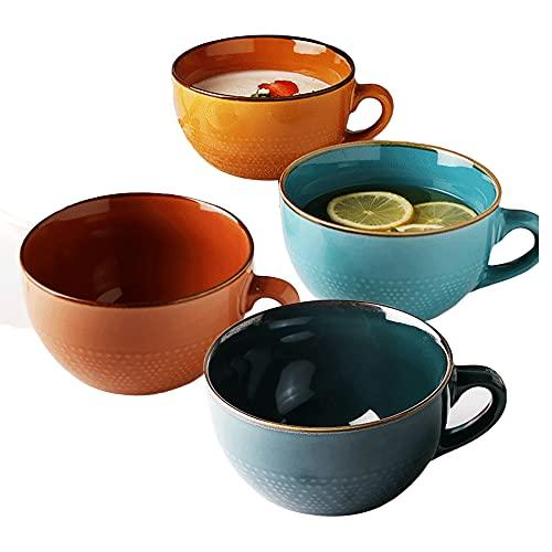Taza de avena de porcelana, 24 onzas Taza de café grande, taza de desayuno y tazón de sopa, microondas y lavavajillas Caja fuerte, taza de sopa de cerámica para cereal, leche, té, fruta, helado