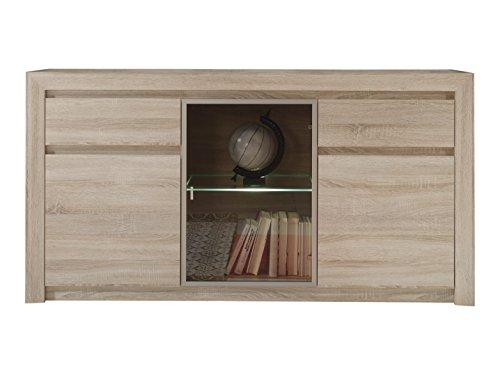 trendteam Wohnzimmer Sideboard Kommode Schrank Sevilla, 164 x 85 x 41 cm in Eiche Sägerau Hell Dekor mit LED Glasbodenbeleuchtung in Warm Weiß