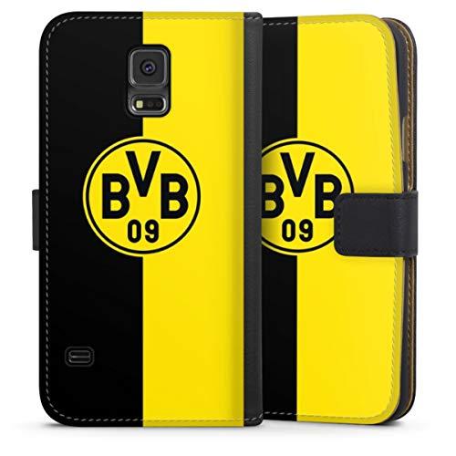DeinDesign Klapphülle kompatibel mit Samsung Galaxy S5 Handyhülle aus Leder schwarz Flip Case BVB Borussia Dortmund Wappen