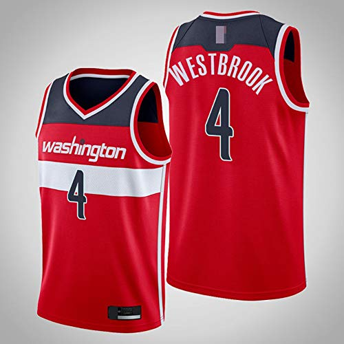 LYY Jerseys De Baloncesto para Hombres, NBA Washington Wizards # 4 Russell Westbrook - Chaleco Clásico Tops Comfort Transpirable Deporte Sin Mangas Camiseta Uniformes,Rojo,XXL(185~195CM)