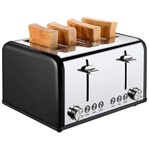 4 Slice Toaster, CUSIBOX Commercial Stainless Steel Toaster Extra Wide Slots with Bagel Defrost Cancel Function, 6 Bread Shade Settings, Removable Crumb Tray, 1650W, Black
