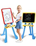 STEAM Life Art Easel for Kids | 4 in 1 Magnetic Board, Chalkboard, Painting Easel, and Drawing White Board for Kids Toddler | Includes Magnetic Letters and Numbers | Easy Storage and Adjustable Height