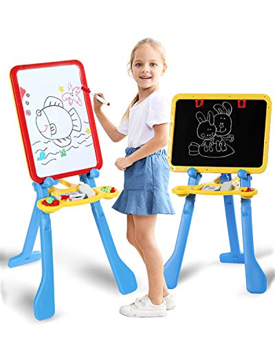 STEAM Life Art Easel for Kids | 4 in 1 Magnetic Board, Chalkboard,...