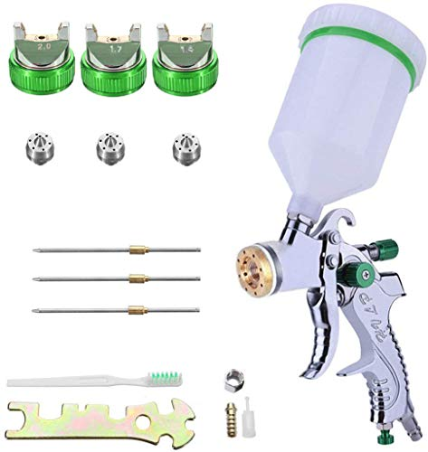 HVLP Gravity Feed Air Spray Gun Professional Air Paint Kits with 3 Nozzles 1.4/1.7/2mm Nozzle and 600cc Cups
