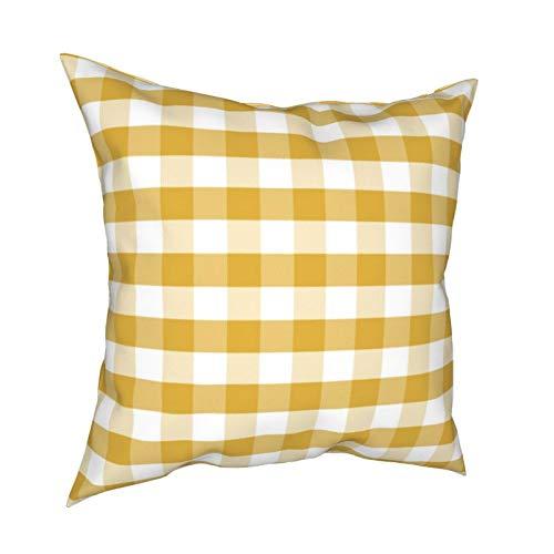 Mostaza cuadros cuadros cuadros cuadros mostaza amarillos cuadrados fundas de almohada funda de cojín funda de almohada para decoración del hogar sofá dormitorio coche 45 x 45 cm