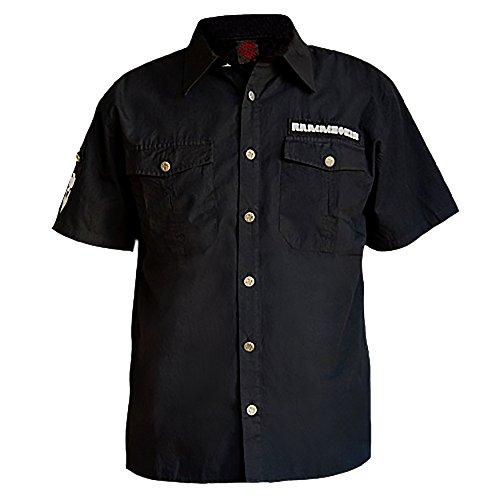 Rammstein Herren Hemd mit kurzem Arm, Offizielles Band Merchandise Fan Shirt schwarz (L, Schwarz)