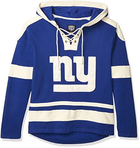 OTS NFL New York Giants Men's Grant Lace Up Pullover Hoodie, Logo, Medium