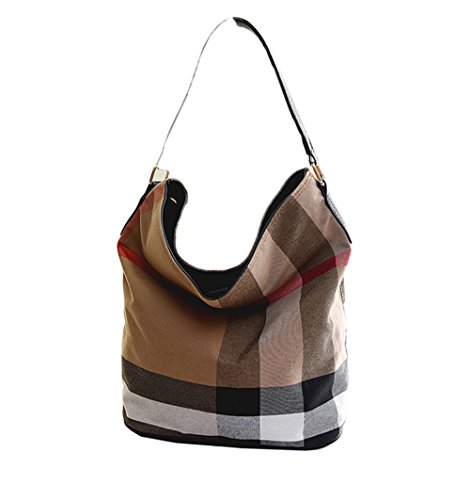Wewo Plaid Canvas Shoulder Bag Casual Travel Tote Bag Fashion Women Handbags Big Bucket Bag Large Capacity Shopping Bag (Black)