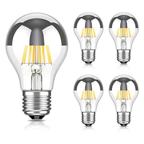Preisvergleich Produktbild ledscom.de E27 Kopfspiegel LED Lampe Glühfaden A60 6W =55W warm-weiß 710lm A++ auch wetterfest,  5 Stk.